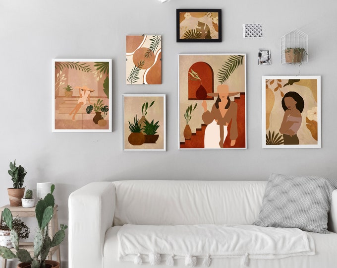 Modern Mid Century Bohemian Style Gallery Set of 6 Prints