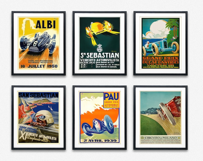 F1 Posters Grand Prix Posters Grand Prix Prints Set of 6 Vintage Formula 1 Posters