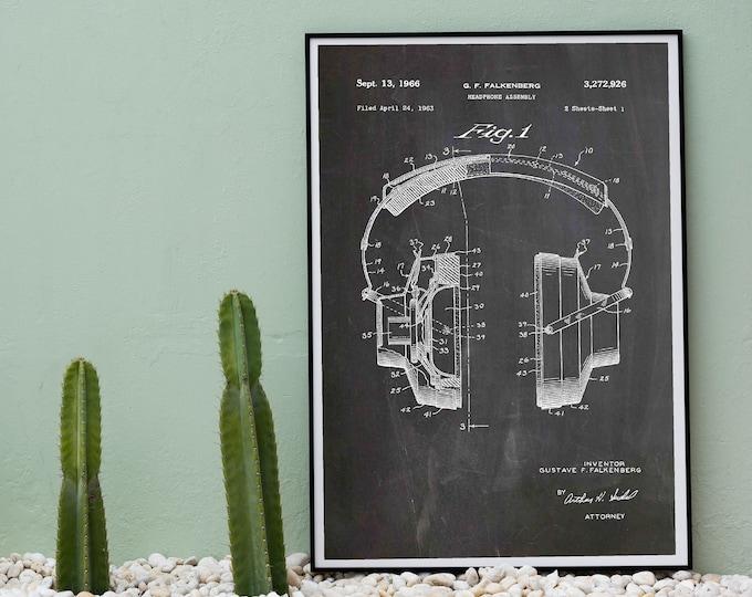 Headphones Patent Print Headphones Poster Music Lover Gift WB522