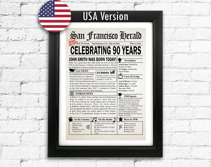 90th Birthday Gift Custom 90th Birthday Newspaper Gift