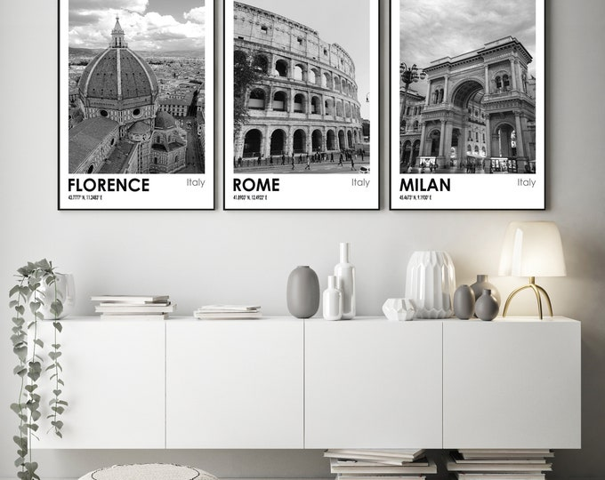 Florence Rome and Milan Italian City Travel Photos Black and White Art Set of 3