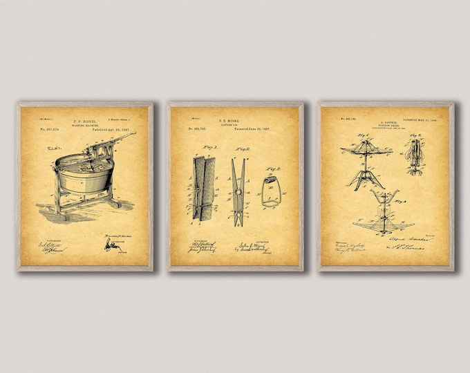 Laundry Peg Decor Posters for Laundry Room Interior Decoration WB490-492
