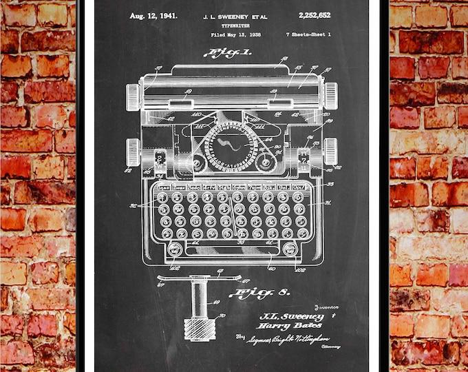 Typewriter Print Typewriter Wall Art Typewriter Poster Home Office Decor Home Office Print Writer Print Gift for Writer Journalist WB234