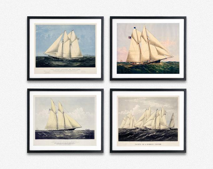Nautical Poster Set of 4 Vintage Style Yacht Prints Ship Decor Ship Wall Art beach House Decor Nautical Wall Art Sailing Decor Sailing Art