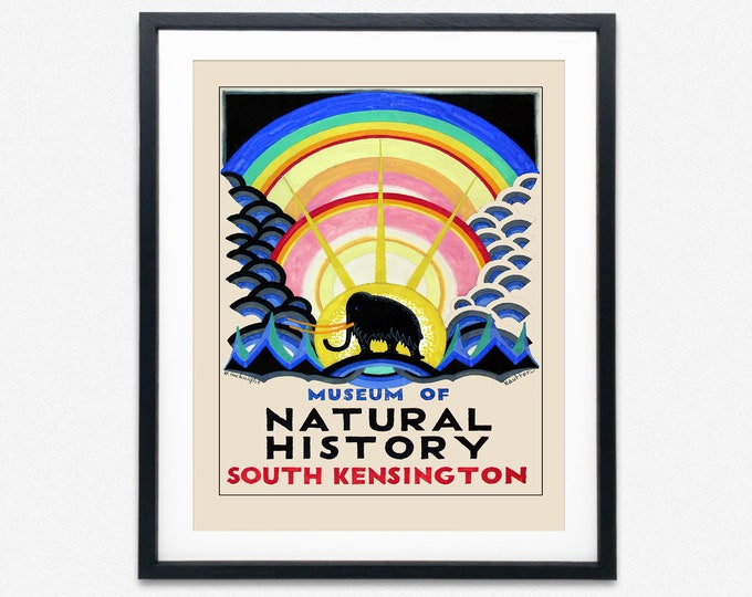 Vintage London Poster for the Underground Kensington Natural History Museum
