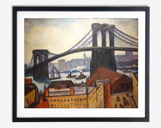 Brooklyn Bridge by Samuel Halpert 1884 Brooklyn Poster Brooklyn Art New York Art New York Poster New York Decor New York Painting Wall Art