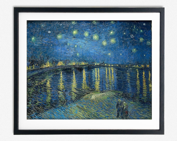 Starry Night Over The Rhone by Vincent Van Gogh Painting Van Gogh Wall Art Starry Night Painting Starry Night Wall Art Large painting Decor