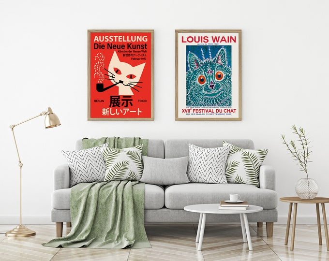 Cat Exhibition Posters Set of 2 Cat Themed Prints