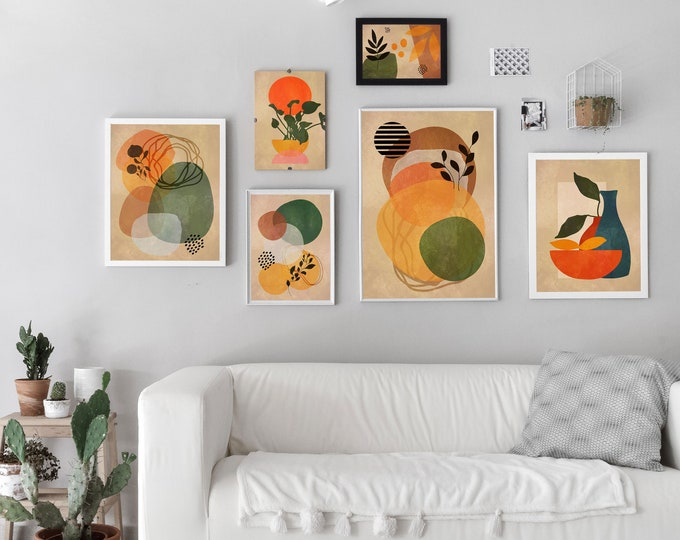 Gallery Posters Set of 6 Peach Themed Modern Home Prints