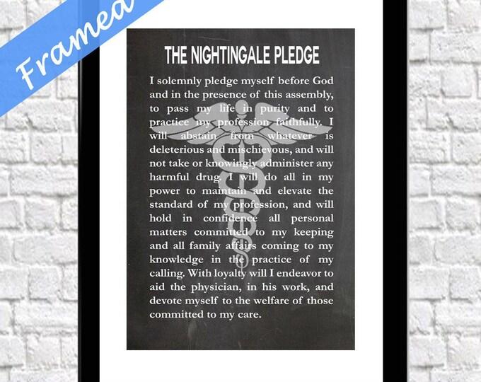 Nurse Graduation Gift Gift For Nurse Framed The Nightingale Pledge Framed Art Print