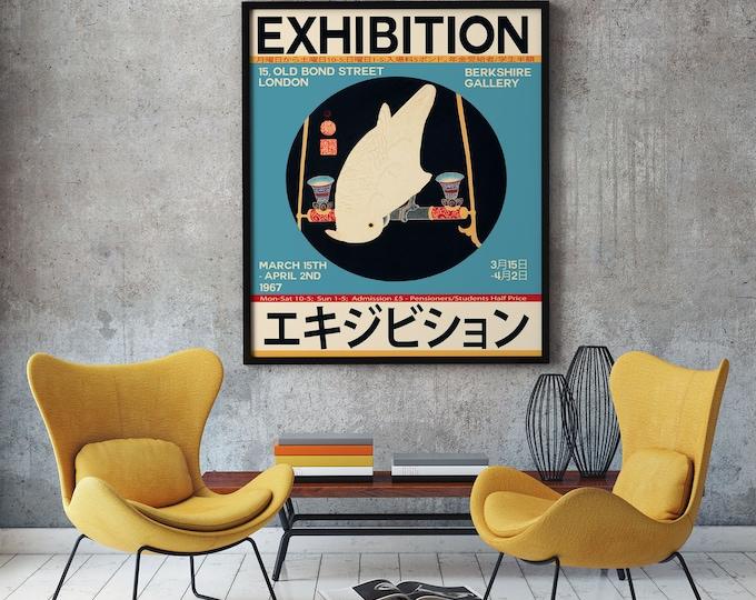 Japanese Art Exhibition Poster London 1967 Unique Japanese Print
