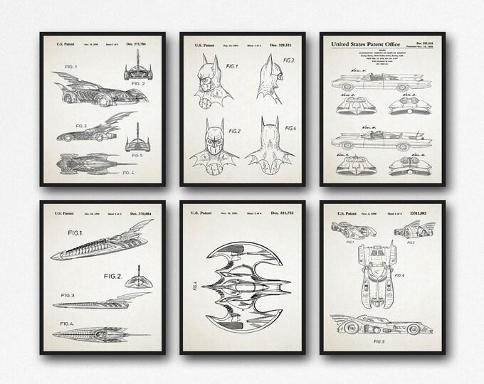 Bat Superhero Vigilante Posters Set of 6 Bat Themed Comic Movie Patent Prints WB015-WB020