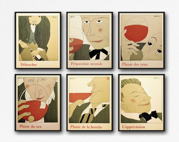 Wine Poster Wine Prints set of 6 Wine Posters Wine Gift Wine Wall Art Wine Decor Wine Art Wine Decor Wine Bar Print Wine Pub Posters French