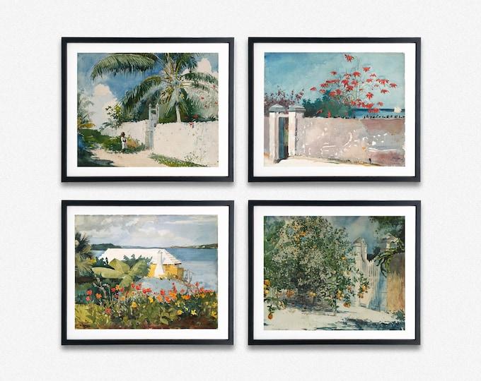 Watercolor Paintings of Bermuda and Nassau Paintings by Winslow Homer Set of 4