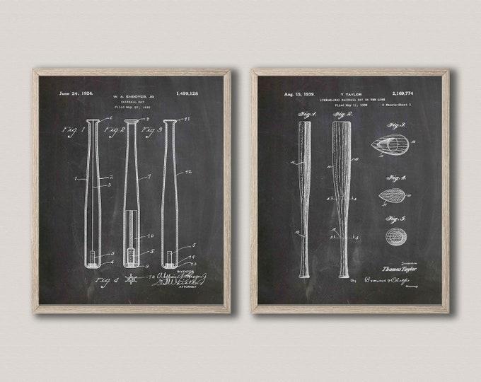 Baseball Bat Patent Art Baseball Bat Decor WB447-449