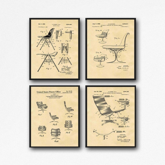 Mid Century Chair Designs Set of Mid Century Chair Blueprints Vintage Chair Posters