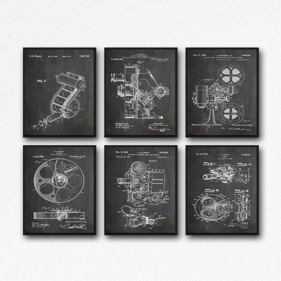 Home Theater Decor Cinema Decor Set of 6 Movie Patent Posters
