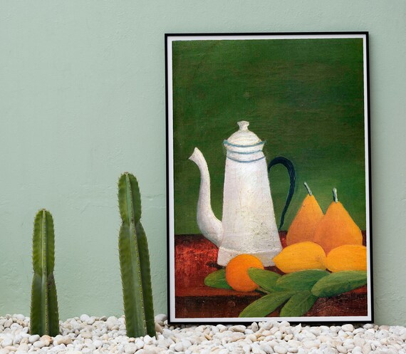 Still Life with Teapot and Fruit by Henri Rosseau Bestselling Kitchen Art