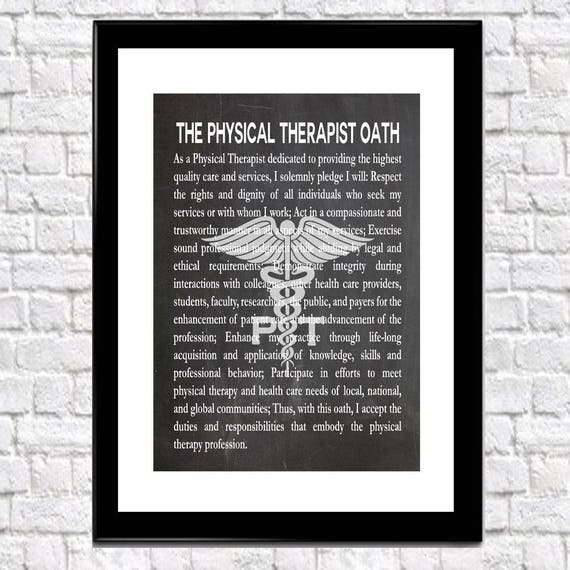 Physical Therapist Oath PT Gift Physio Print Physical Therapist Graduation Medical Graduation Therapist Gift for PT