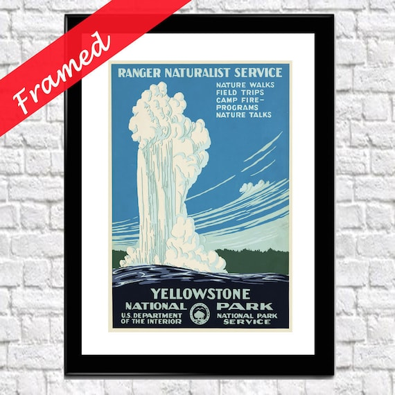 Yellowstone Poster Yellowstone Framed Print National Park Poster Framed National Parks Print National Parks Wall Art Yellowstone Wall Art