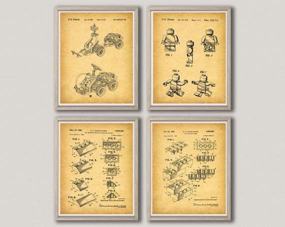Lego Nursery Wall Art Lego Poster Set of 4 Lego Blueprint Posters Lego Patent Prints Lego Deco Lego Birthday Lego Toy Gift WB327-WB329-001