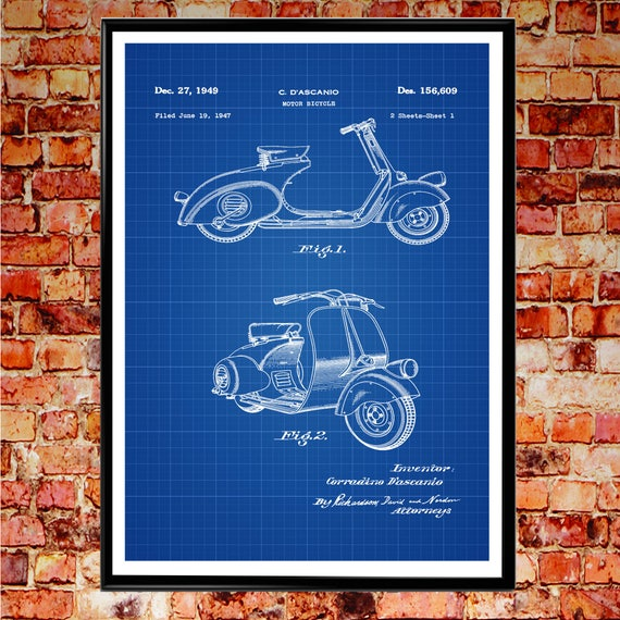 Vespa Scooter Patent Poster Scooter Wall Art Scooter Decor Vespa Motor Scooter Motorbike Wall Art Motorbike Blueprint Poster WB096
