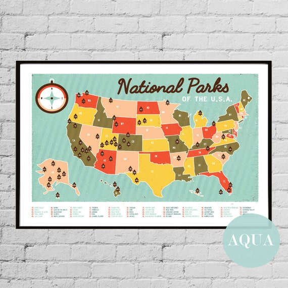 United States National Parks Poster National Parks Print National Parks Wall Art