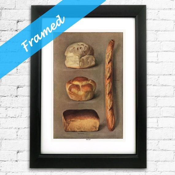 Baking Gift for Baker Framed Vintage Bread Types Kitchen Art ready to Hang