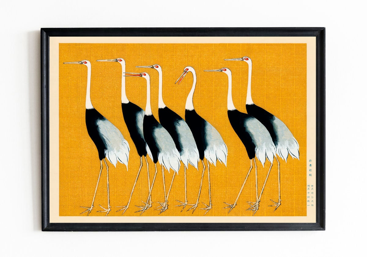 Japanese Woodblock Art Flock of Japanese Red Crown Cranes by Ogata ...
