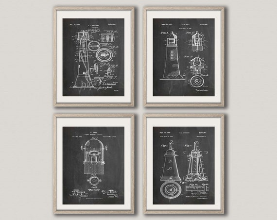 Lighthouse Prints Set of 4 Lighthouse Posters Lighthouse Wall Art Lighthouse Art Lighthouse Decor Nautical Theme Prints Sea Art WB250-WB253
