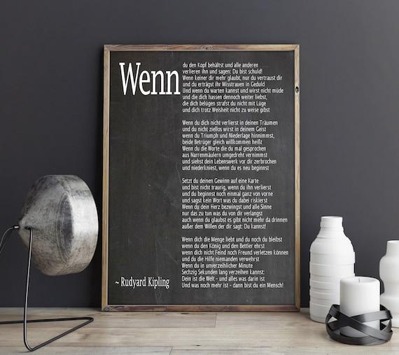 Wenn Gedicht auf Deutsch If Poem in German Deutsches Plakat Deutsche Wandkunst