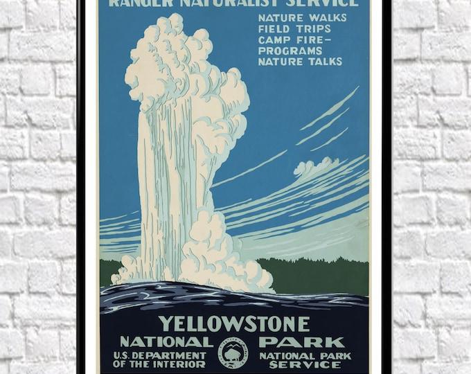 Yellowstone National Park Poster Yellowstone National Park Wyoming 1938 USA Vintage Poster National Park USA Wall Art USA Posters