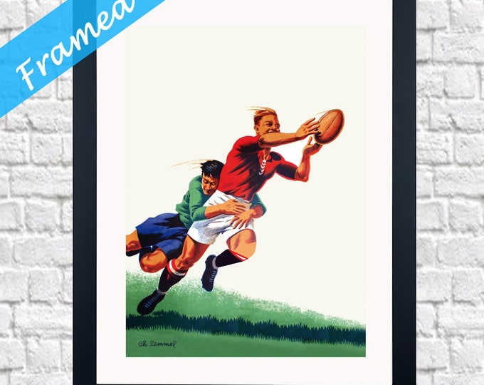 Framed Rugby Print Rugby Wall Art Rugby Decor Vintage Rugby Poster Rugby Gift