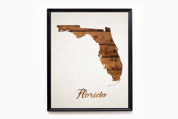 Watercolor Map of Florida Map Decor