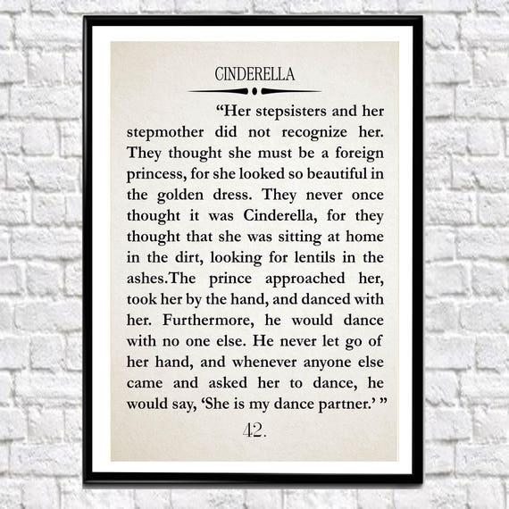 Cinderella Book Wall Art Cinderella Quote Cinderella Art Literary Quote Literature Art Large Book Wall Art (sizes up to 50x70)