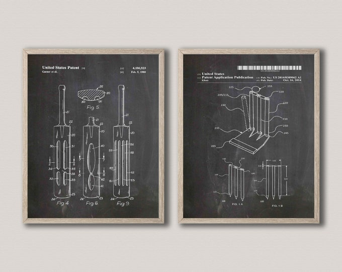 Inventions of Cricket Posters Set of 2 Cricket Prints The Ashes Cricket WB567-WB570