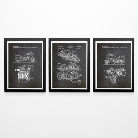 Motorcycle Patent Prints Set of 3 Motorbike Designs