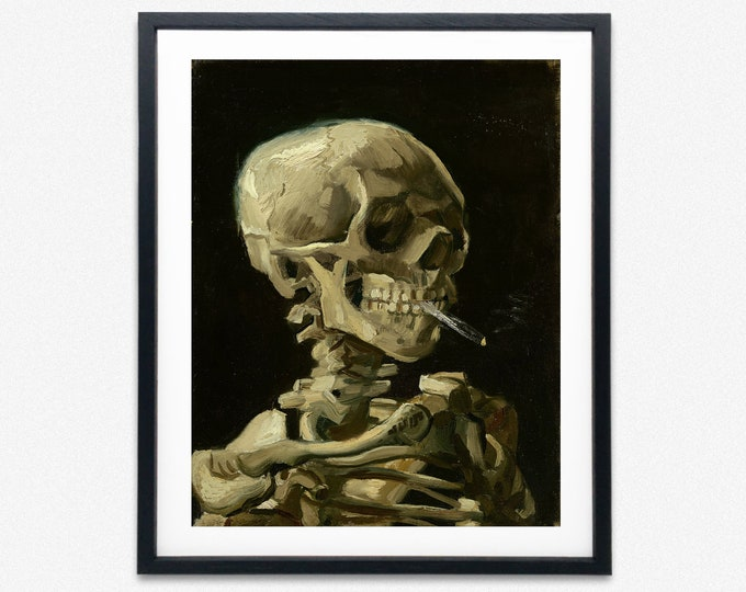Modern oil Painting Skull of Skeleton With Burning Cigarette by Vincent Van Gogh Wall Art Van Gogh Art Skull Wall Art Skeleton Wall Art