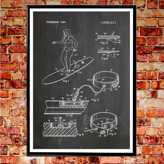 Surf Print Patent Print of Ankle Leash Surfing Poster Surf Art Surfboard Poster Beach Decor Beach Print Surf Decor Surf wall Art Surf WB052