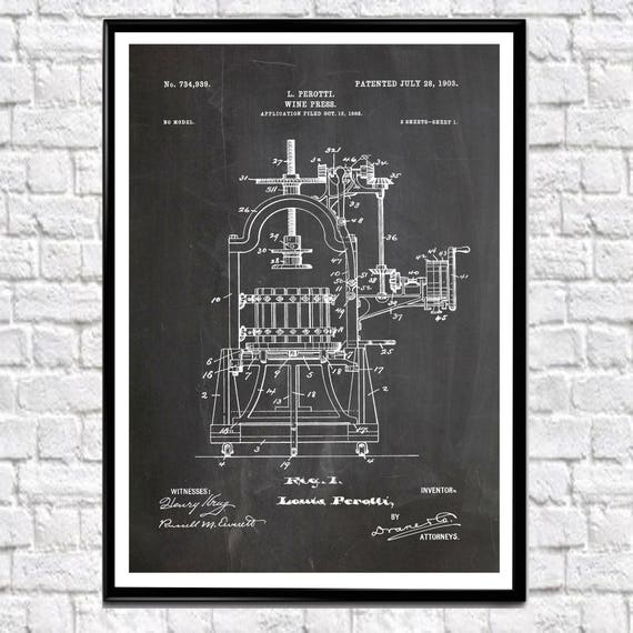 Wine Press Patent Poster Wine Poster Wine Decor Wine Wall Art Wine Bar Decor Wine Art Print Wine Gift Vintage Wine Poster (WB134)