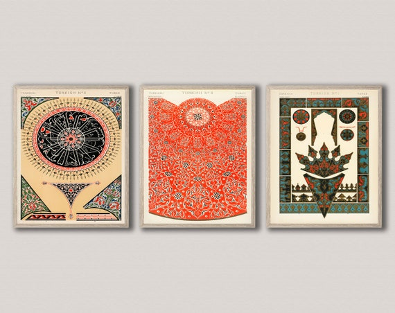 Vintage Home Decor Turkish Style Pattern Prints Set of 3 Graphic Design Posters from Pattern Posters Pattern Wall Art Pattern Decor Retro
