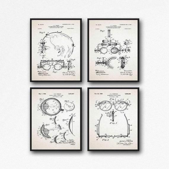 Ophthalmology Inventions Optician wall art Eye Anatomy Set of 4 Prints