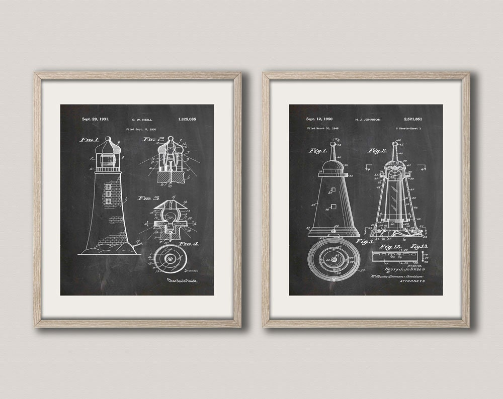 Lighthouse patent print set of 2 patent posters lighthouse wall art lighthouse patent print set of 2 patent posters lighthouse wall art lighthouse decor nautical poster nautical prints blueprint art wb251 52 malvernweather