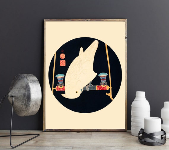 Japanese Graphic Design Art Asian Graphic Wall Art The White Macaw