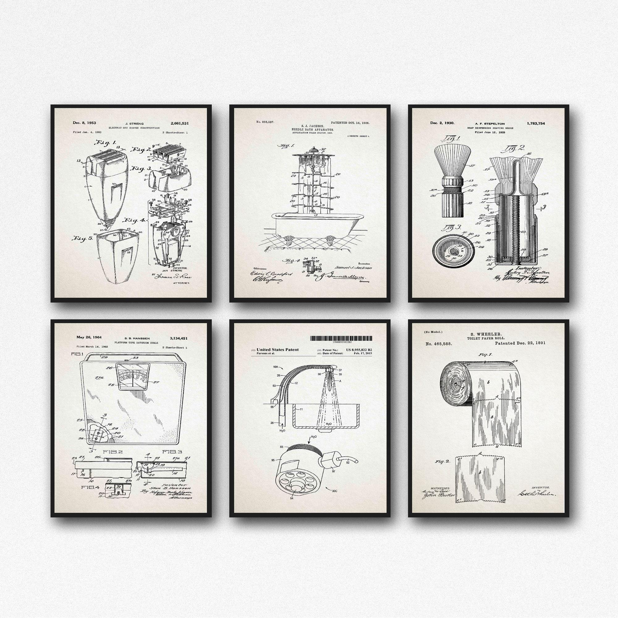 Bathroom Prints Bathroom Wall Art Set Of 6 Bathroom Posters Wb562 Wb566