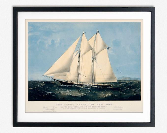 Yachting Decor Vintage Yacht Print Nautical Decor