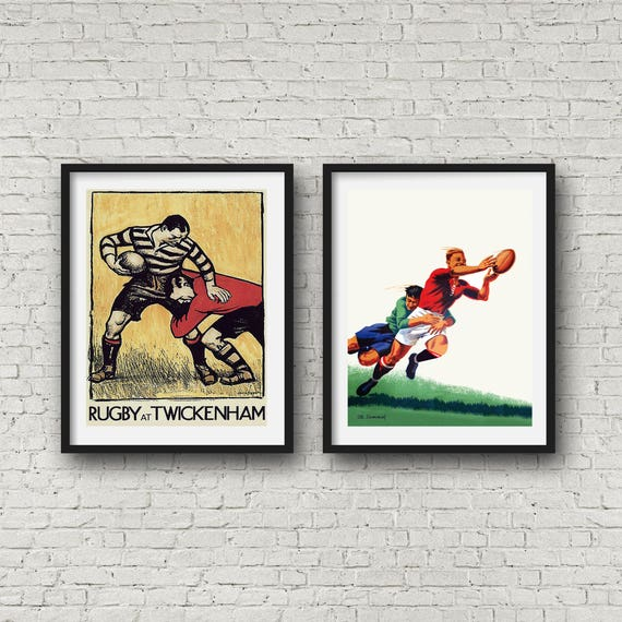 Vintage Rugby at Twickenham Poster Print Picture Sport Ball Art A3 Poster