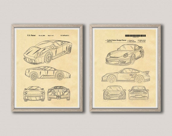 Sports Car Poster Art Car Poster Set of 2 Car Prints Car Decor Gift for Car Guy Garage Decor Auto Poster Auto Wall Art Car Shop WB337-338