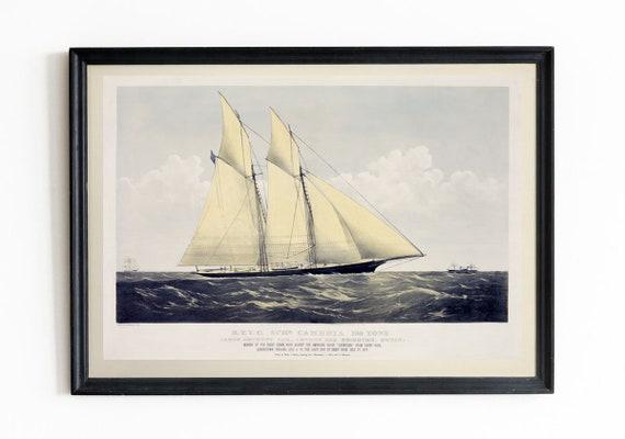 Schooner Painting 1870 Schooner Cambria Racing Ship Painting Yacht Wall Art Nautical Painting Nautical Decor Vintage Sailing Print Schooner
