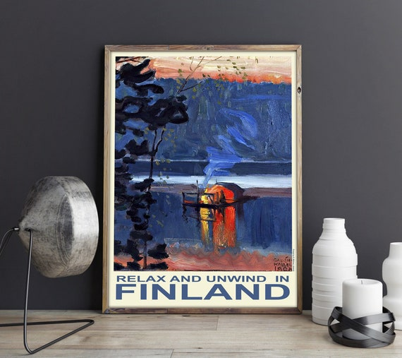 Finland Travel Poster Finland Wall Art Scandinavian